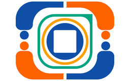 Vector abstract color logo from various geometric shapes of orange, green, blue, white in the form of an action camera Stock Photography