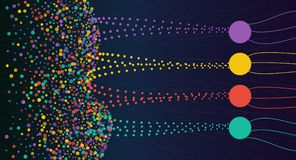 Vector abstract colorful big data information sorting visualization. Social network, financial analysis of complex databases. Visual information complexity royalty free illustration
