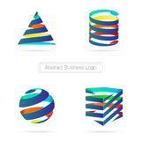 Vector : Abstract colorful business ribbon 3D logo,Technology co Stock Image