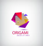 Vector abstract colorful 3d origami logo. Faceted geometric icon Stock Photography