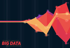 Vector abstract colorful financial big data graph visualization. Futuristic infographics aesthetic design. Stock Photos