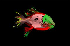 Vector Abstract colorful fish with black background wallpaper Stock Images