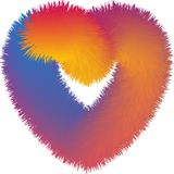 Vector Abstract colorful fur heart blending, gradient effect, colorful illustration royalty free illustration