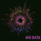 Vector abstract colorful round big data visualization. Futuristic infographics design. Visual information complexity. Intricate data threads graphic. Social stock images