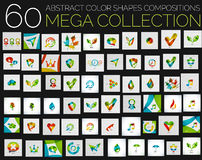 Vector abstract colorful shapes various concepts. Huge mega collection. Abstract compositions created with separate overlapping color shapes Stock Images