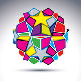 Vector abstract complex 3d orb, kaleidoscope. Bright sphere crea Stock Photography