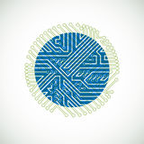 Vector abstract computer circuit board colorful illustration. Green and blue round technology element with connections. Electronics theme web design Royalty Free Stock Images