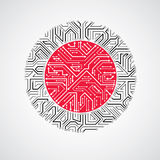 Vector abstract computer circuit board red and black illustratio Royalty Free Stock Photo