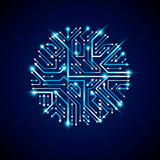 Vector abstract computer glare circuit board, blue round technol Stock Photography