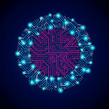 Vector abstract computer glare circuit board, blue round technol Stock Image