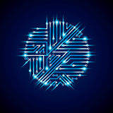 Vector abstract computer glare circuit board, blue round technol Stock Images