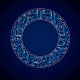 Vector abstract computer glare circuit board, blue round technol Royalty Free Stock Photography