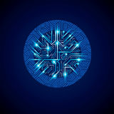 Vector abstract computer glare circuit board, blue round technol Royalty Free Stock Photo