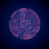 Vector abstract computer glare circuit board, magenta round tech Stock Images