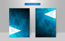Vector abstract cover design triangle geometric pattern hi tech concept Royalty Free Stock Images