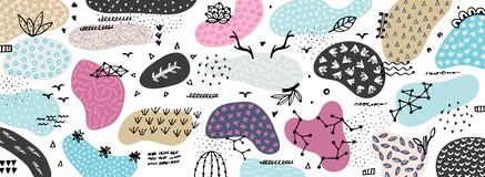 Vector abstract creative background with hand drawn elements and different textured shapes. Freehand style. Applique. Unique artistic design. Header, poster stock illustration