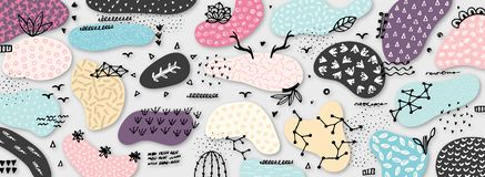 Vector abstract creative background with hand drawn elements and different textured shapes. Freehand style. Applique. Unique artistic design. Header, poster royalty free illustration