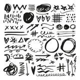 Vector abstract creative brush grunge elements set royalty free illustration