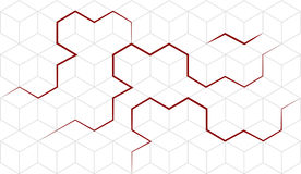 Vector abstract cubes isometric background with red lines. Geom. Etric abstraction. Pseudo 3D cube cell. White background. Editable eps10 Vector stock illustration
