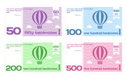 Vector Abstract Cute Color Banknote Templates Set Stock Images