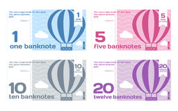 Vector Abstract Cute Color Banknotes Set. Vector Cute Colour Banknotes Set 1 in Flat Style on White Background Stock Images