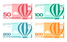 Vector Abstract Cute Color Banknotes Set. Vector Cute Colour Banknotes Set 2 in Flat Style on White Background Stock Image