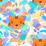 Vector abstract cute pattern jungle tiger. For print on a T-shirt, a picture in the nursery. Illustration Stock Photos