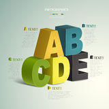 Vector abstract 3d alphabet  infographics. Vector abstract 3d alphabet infographic elements Stock Photography