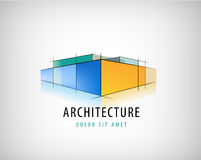 Vector abstract 3d architecture sign, building plan logo, house design. Structure icon isolated stock illustration