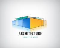 Vector abstract 3d architectuurteken, het embleem van het de bouwplan, huisontwerp Royalty-vrije Stock Afbeeldingen