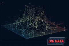 Vector abstract 3D big data visualization. Futuristic infographics aesthetic design. Visual information complexity. Intricate data threads graphic. Social Stock Images
