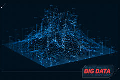 Vector abstract 3D big data visualization. Futuristic infographics aesthetic design. Visual information complexity. Intricate data threads graphic. Social Stock Photography