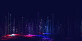 Vector abstract 3D big data visualization. Futuristic infographics aesthetic design. Visual information complexity. Intricate data threads plot. Social network Stock Photo
