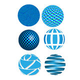 Vector abstract 3D blue spheres, globes, graphic design icons, abstract circles Stock Photo