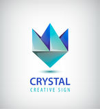 Vector abstract 3d crystal geometric logo, stylized blue flower Stock Photo