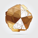Vector. Abstract 3D geometric illustration. Abstract 3D geometric illustration. Gold sphere over white background Royalty Free Illustration