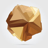 Vector. Abstract 3D geometric illustration. Abstract 3D geometric illustration. Gold sphere over white background Stock Illustration