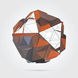 Vector. Abstract 3D geometric illustration. Abstract 3D geometric illustration. Gold sphere on white background Stock Illustration