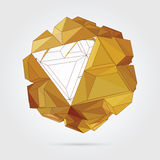 Vector. Abstract 3D geometric illustration. Abstract 3D geometric illustration. Gold sphere on white background Royalty Free Illustration