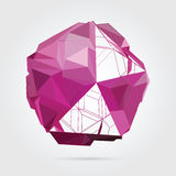 Vector. Abstract 3D geometric illustration. Abstract 3D geometric illustration. Pink sphere on white background Royalty Free Illustration