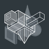 Vector abstract 3d geometric shape, polygonal figure. Stock Photography