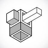 Vector abstract 3d geometric shape, polygonal figure. Modern geometric art composition vector illustration