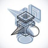 Vector abstract 3d geometric shape, polygonal figure. Modern geometric art illustration Stock Image