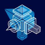 Vector abstract 3d geometric shape, polygonal figure. Modern geometric art illustration stock illustration