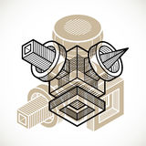 Vector abstract 3d geometric shape, polygonal figure. Royalty Free Stock Image