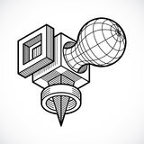 Vector abstract 3d geometric shape, polygonal figure. Royalty Free Stock Photos