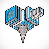 Vector abstract 3d geometric shape, polygonal figure. Royalty Free Stock Photo