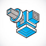 Vector abstract 3d geometric shape, polygonal figure. Stock Photo