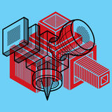 Vector abstract 3d geometric shape, polygonal figure. Stock Image