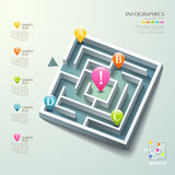 Vector abstract 3d maze infographics. Vector abstract 3d maze infographic elements stock illustration